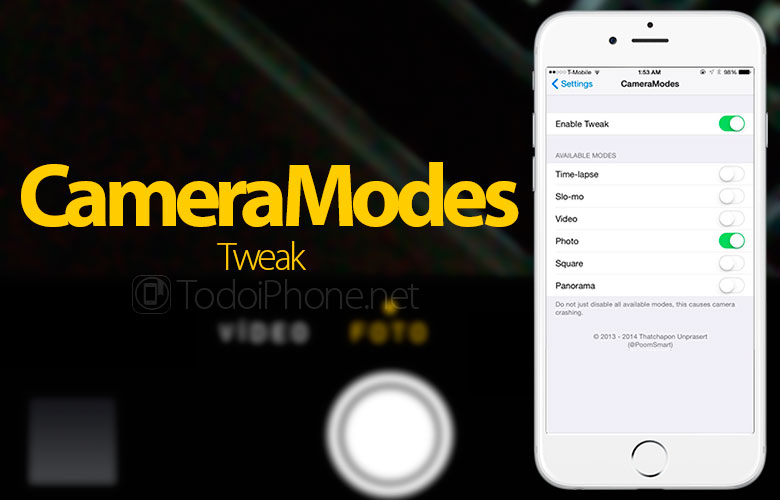 CameraModes deactivates the functions you do not use on the camera [tweak] 1