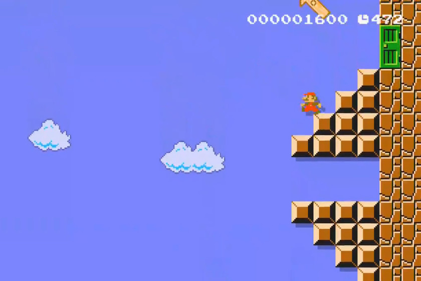 Overcoming level 1-1 of Super Mario Bros. becomes a challenge by turning it upright in Super Mario Maker 2